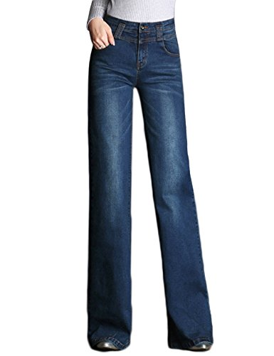 PHOENISING Women's Stylish Wide Leg Trousers Sexy Business Fashion Wear Flared Jeans,Size 2-16 by PHOENISING