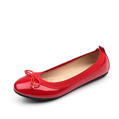 rojo mujer pajarita York Zapatos negro puntera ballet básicos redonda de gris para con diseño Zhu Rojo color de U4UYw8q
