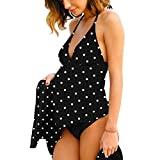 Halter Neck Maternity Tankini Tie-dye Striped Swimsuit Set Black Polka Dot XL