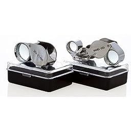 4pc Jewelers Eye Loupe Set 30X + Dual 10X-20X Magnifying Glass