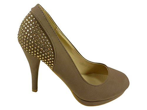 Taupe et Femme Talons Chaussures Strass Chaussmaro Escarpins Hauts Plateforme à EqzwSw0
