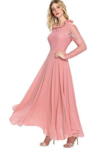 Milumia Women's Vintage Floral Lace Long Sleeve Ruched Neck Flowy Long Dress Pink L