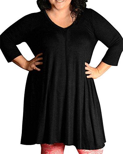 Sólido Grande Casual Manga Color Negro Suelto Mujer Fiesta Vestido Talla Larga Noche 5FwRg1pnq