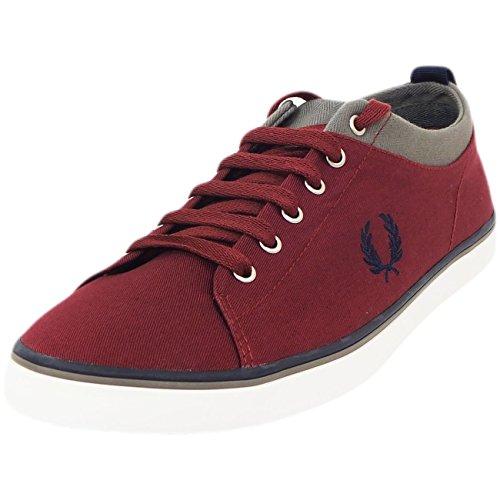 Mens Fred Perry Trainer Designer Canvas Footwear Pump Maroon us 7.5