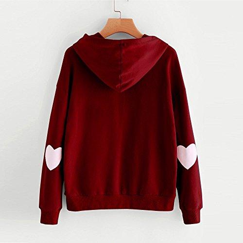 Capuche Hiver Mode Femmes Sweat Pull Chemisier Unie ur Rovinci Manche Sauteur shirt T Capuche Rouge Printemps Shirt L'automne C Couleur Tops Impression Longue Dcontracte Sweat CYx4C1wq