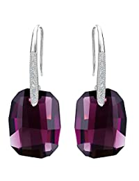 EleQueen 925 Sterling Silver CZ Rectangle Hook Earrings Adorned with Swarovski® Crystals