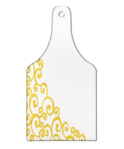 Lunarable Baroque Cutting Board, Side Frame of Floral Ivy Round Swirl with Antique Victorian Details Artwork, Decorative Tempered Glass Cutting and Serving Board, Wine Bottle Shape, Yellow and White