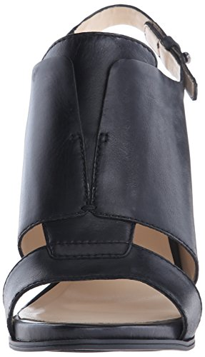 Nine West Poplock de cuero de tacón de la sandalia Black