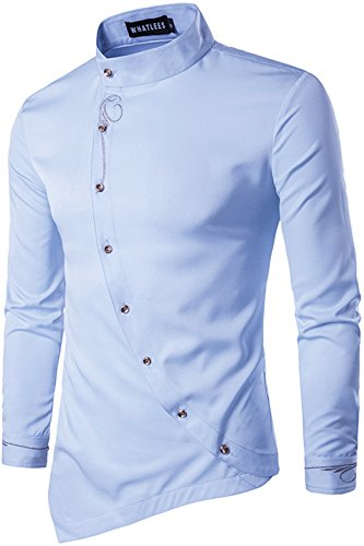 Whatlees Mens Long Sleeve Extra Long Embroidery Button Down Dress Shirt - Vesace Ring
