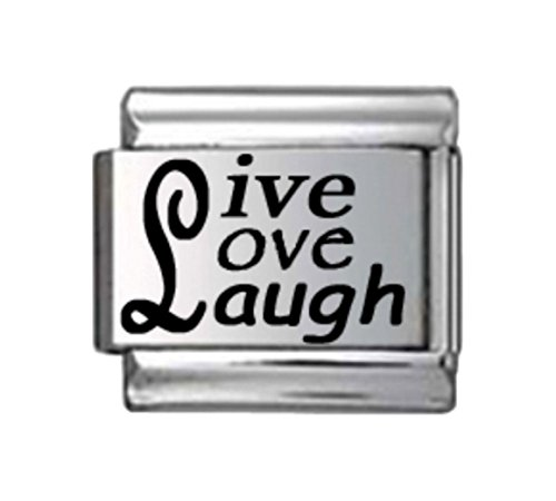 Stylysh Charms Live Love Laugh Laser Engraved Italian 9mm Link LV084 -