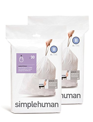 simplehuman Custom Fit Trash Can Liner B, 6 Liters / 1.6 Gallons, 30-Count (Pack of 2)