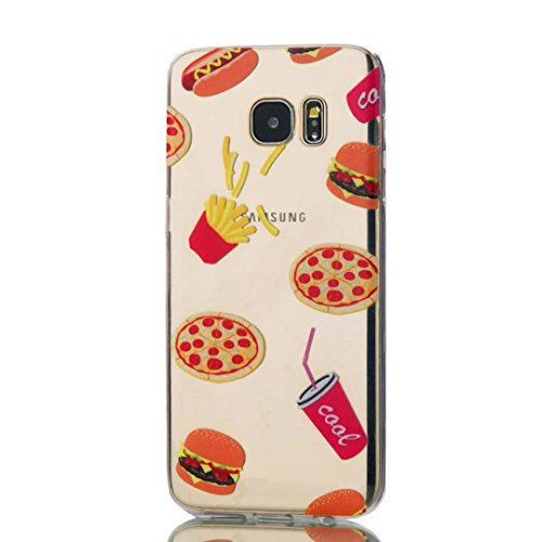 Samsung Galaxy S7 Edge Case, KSHOP Premium Accessory Ultra Thin Transparent Clear Soft Gel TPU Silicone Case Cover Bumper Shellfor Samsung Galaxy S7 Edge-Hamburger and French fries