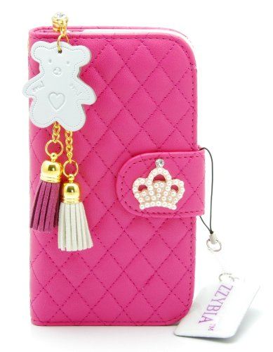 ZZYBIA® NOTE III 3 QCB Shocking Pink Leatherette Stand Case Card Holder Wallet with Off White Bear Fringed Dust Plug Charm for Samsung Galaxy Note III 3 N9000 N9005