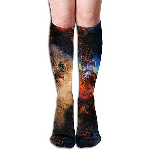 ペチコート投票くすぐったい宇宙猫 ストッキング 3D デザイン 女性男性 秋と冬 フリーサイズ 美脚 かわいいデザイン 靴下 足元パイル ハイソックス メンズ レディース ブラック サイハイソックス