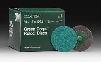 3M Green Corps Roloc Discs 3-50 Grit DISC ROLOC 50GR 3 25//BX GREEN