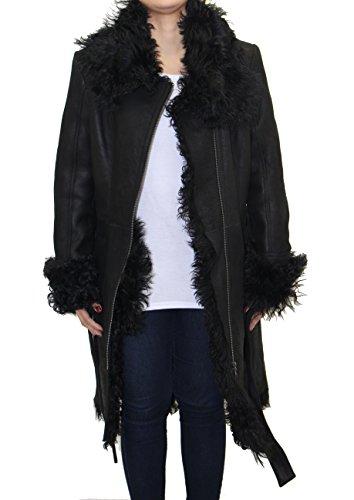 De cuero para mujer de piel de oveja de piel de oveja grande cuello del abrigo con cintur—n de invierno Piel de oveja negra