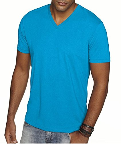 (Next Level Apparel 6440 Mens Premium Fitted Sueded V-Neck Tee - Turquoise, 2XL)