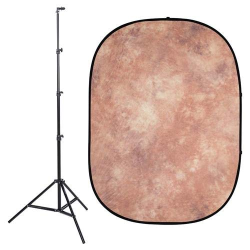 - InterfitPB104K Studio Essentials Collapsible - KIT - 5' x 6.5' Pop-Up Background - Muslin with Reflector Stand & Clip, Brown/Gray