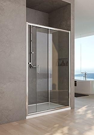 Mampara de ducha con nicho modelo Nora-Mate-plata pulido-190 ...