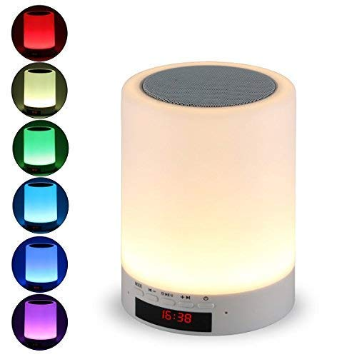 Night Light Bluetooth Speaker, Tranesca Portable Wireless Bluetooth Speaker with 7 Color LED Light, Warm Night Light and Alarm