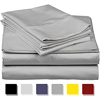 True Luxury 1000-Thread-Count 100% Egyptian Cotton Bed Sheets, 4-Pc Queen Silver Sheet Set, Single Ply Long-Staple Yarns, Sateen Weave, Fits Mattress Upto 18'' Deep Pocket