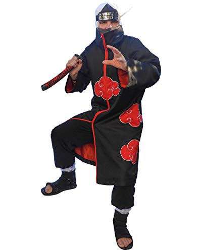 DAZCOS US Size Unisex Akatsuki Cloak Robe Cosplay Costume Embroidery Edition (Child L) Black]()