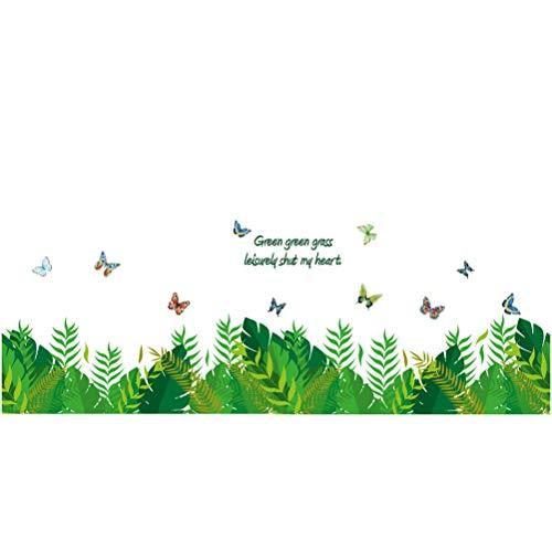 Vosarea 3D Butterfly Green Grass Baseboard PVC Wall Sticker Kids Room Bedroom Home Decor (Bath Vert)