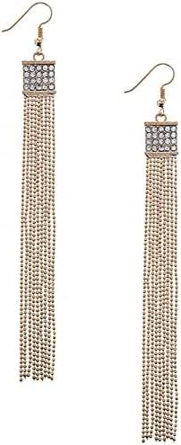 TRENDY FASHION JEWELRY CRYSTAL PAVE SQUARE BALL CHAIN FRINGE EARRINGS BY FASHION DESTINATION