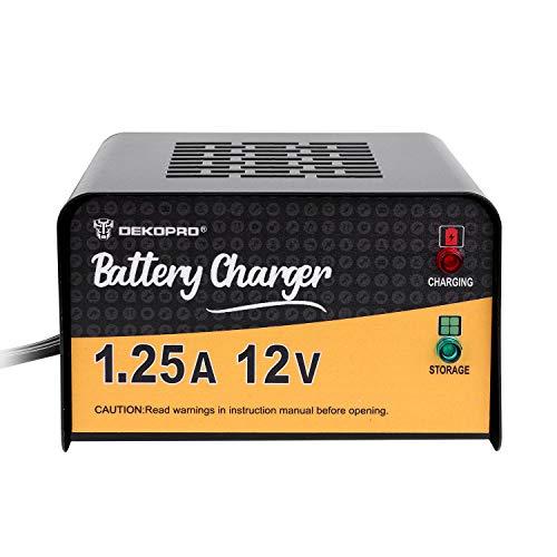 (DEKOPRO Battery Charger 12 Volt 1.25 Amp Smart Charger Car Battery Charger Trickle Charger Battery Maintainer Charger)
