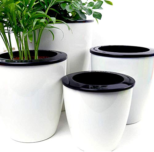 Mkono 3 Pack Self Watering Planter African Violet Pots Plastic White Flower Plant Pot with Wick Rope for All House…