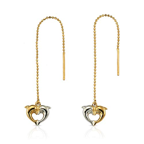 - Stunning 14K Yellow and White Gold Two-Tone Long Beaded Dolphin Dangle Earrings for Women and Girls