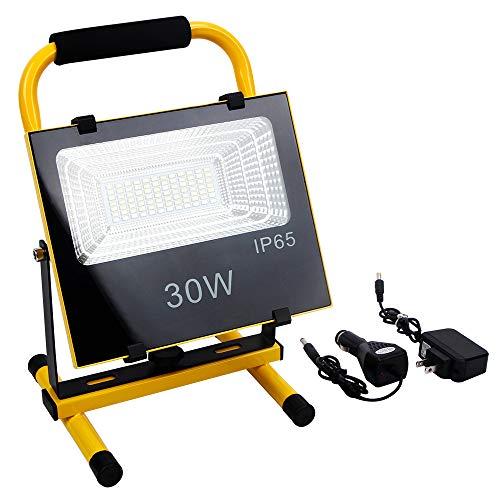FISHNU 30Watts Cordless Led Work Light,Rechargeable Led Flood Light 72+12 LEDs,Built-in Lithium Battery,120Watts Halogen Equivalent,IP65 RGB Flash Work Lights for Workshop ()