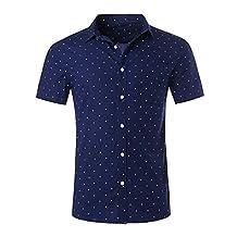 NUTEXROL Men's Diamond Print Dress Shirt Short Sleeve Cotton Navy Large