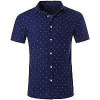 nutexrol Hombres Premium de lunares impresión Casual de manga corta para algodón camisas