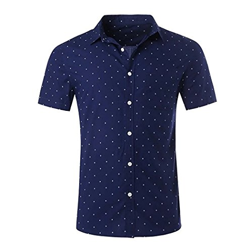 - NUTEXROL Men's Premium Polka Dot Print Casual Shirt Short Sleeve Cotton Shirts Navy Blue (Small)