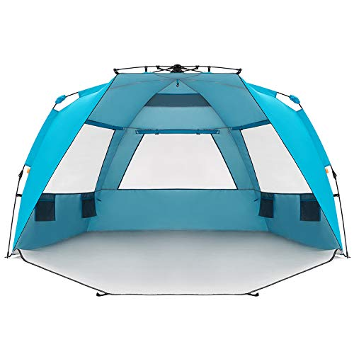 Easthills Outdoors Instant Shader Enhanced Pop Up Beach Tent Instant Sun Shelter with UPF 50+ UV Protection Double Silver Coating for Kids & Family Pacific Blue (Best Pop Up Shelter)