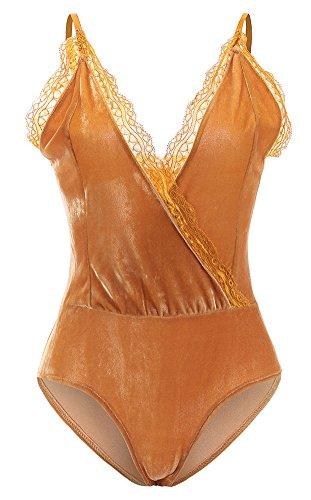 Velvet Bodysuit - BEEY Womens Deep V-Neck Lace Spaghetti Straps Velvet Bodysuit Tops (Large, Yellow)