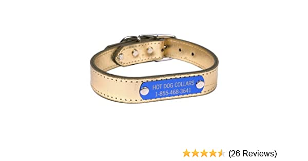 8439af081b77 Amazon.com : Hot Dog Collars Personalized Leather Dog Collar with Engraved  Nameplate, Gold Leather, Large : Pet Supplies