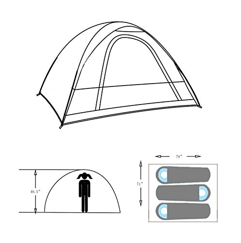 Wnnideo 3-4 Person Tent With Eatra Rainfly for outdoor Camping Sun Shelter Green