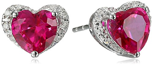 Gold Created Ruby Heart (10k White Gold Created Ruby and Diamond Heart Stud Earrings(0.06 cttw, I-J Color, I2-I3 Clarity))