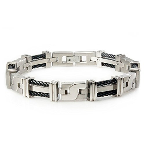 Titanium X Link Bracelet, Cable Accents, 8 Inches