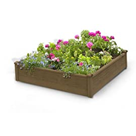 """Algreen Products 34004 Raised Garden Bed/Kit 108 Weather resistant solid fir wood with Cappuccino stain 12"""" tall Height helps for greater root development Decorative corner posts"""