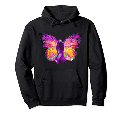 Purple Ribbon Butterfly Overdose Awareness Pullover Hoodie