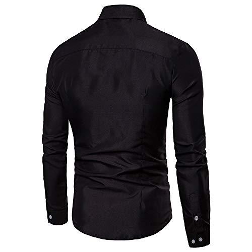 Chemisier Longue Imprimé Couleur Pur Tops Hommes Chemises Manche Magiyard Noir Svelte Mode Décontractée Aa0XWq