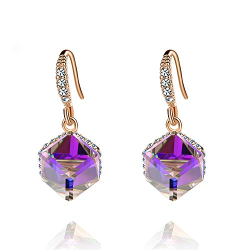 Colorful Cube Swarovski Crystal Earrings for Women Girls 14K Gold Plated Color Changing Drop Earrings (Purple)