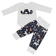 2pcs Newborn Infant Toddler Cowboy Hat Print Long Sleeves Romper+ Pants Outfits (0-6M)