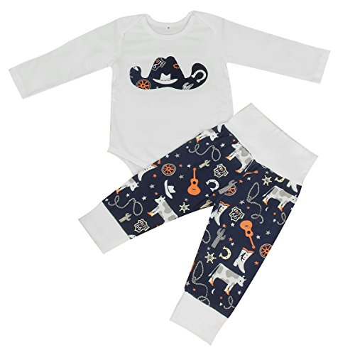 2pcs Newborn Infant Toddler Cowboy Hat Print Long Sleeves Romper+ Pants Outfits (0-6M)