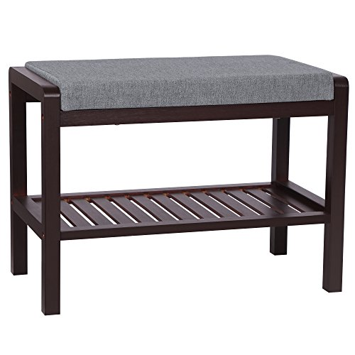 SONGMICS Small Entryway Shoe Rack Bench with Cushion Upholstered Padded Seat,Storage Shelf,Shoe Organizer,Holds Up to 350 Lbs,Ideal for Bedroom Living Room Hallway Garage Mud Brown ULBS65C