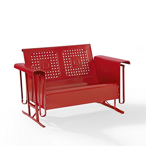 Outdoor Loveseat Glider in Red Finish