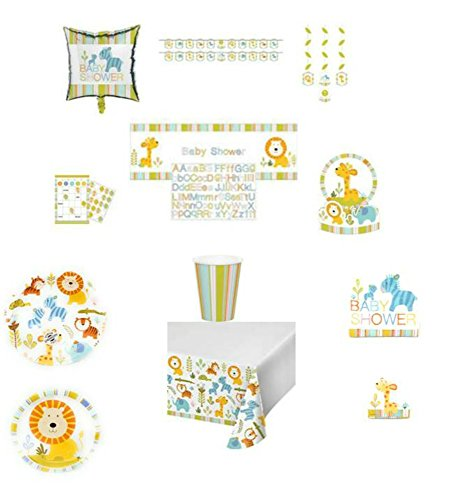 ShoppeShare Happi Jungle Baby Shower Dinnerware/Decorations Combo Pack 12-Piece Bundle, Serves 8 (Plates/Napkins/Cups/Tablecloth/Favors/Decorations)